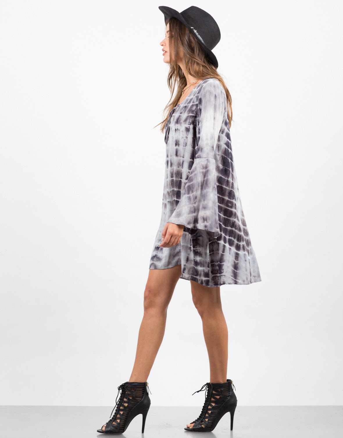 Side View of TIe Dye Gauze Lace Up Dress