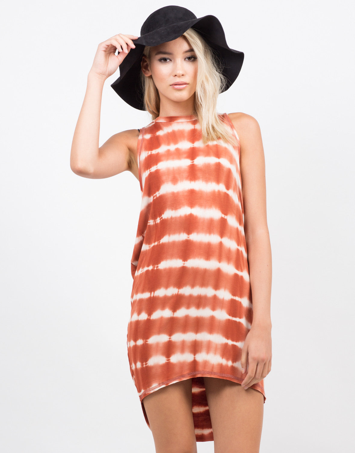 Front View of Tie-Dye Hi Low Tunic Dress