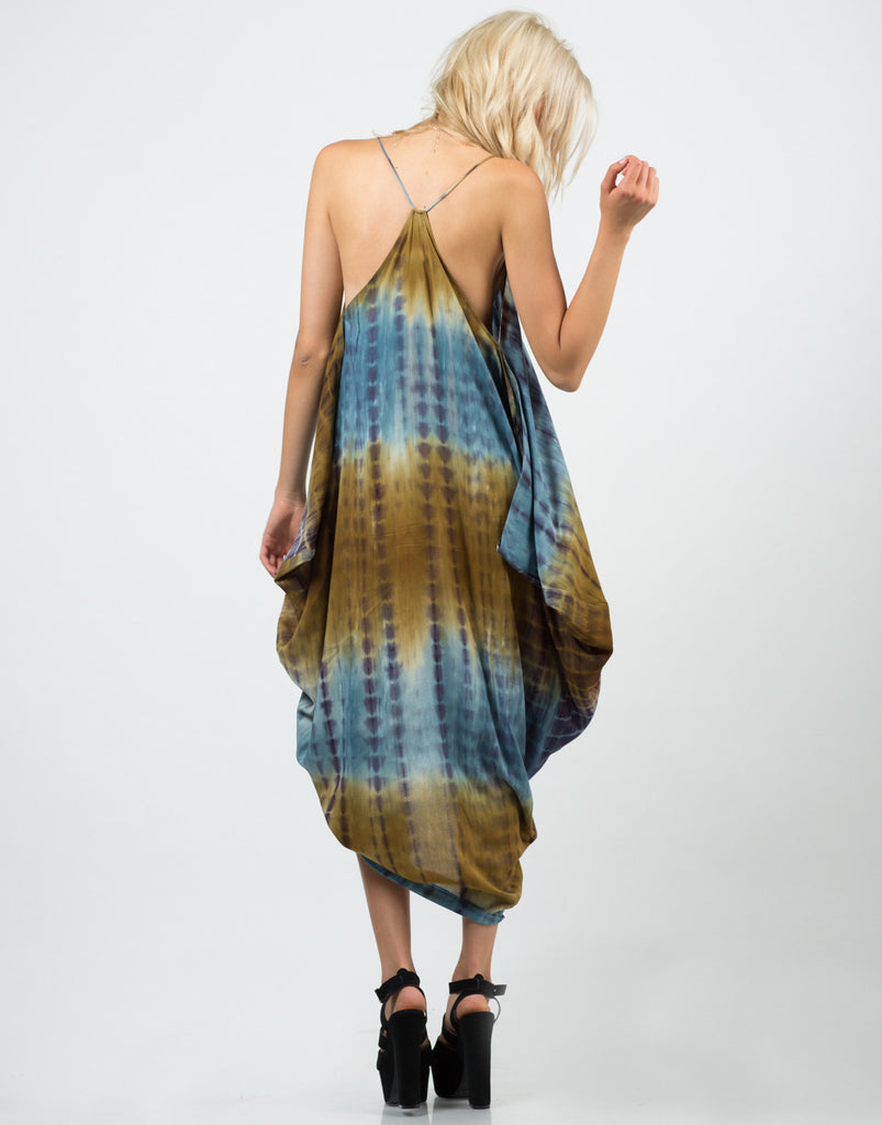 Back View of Tie-Dye Parachute Dress