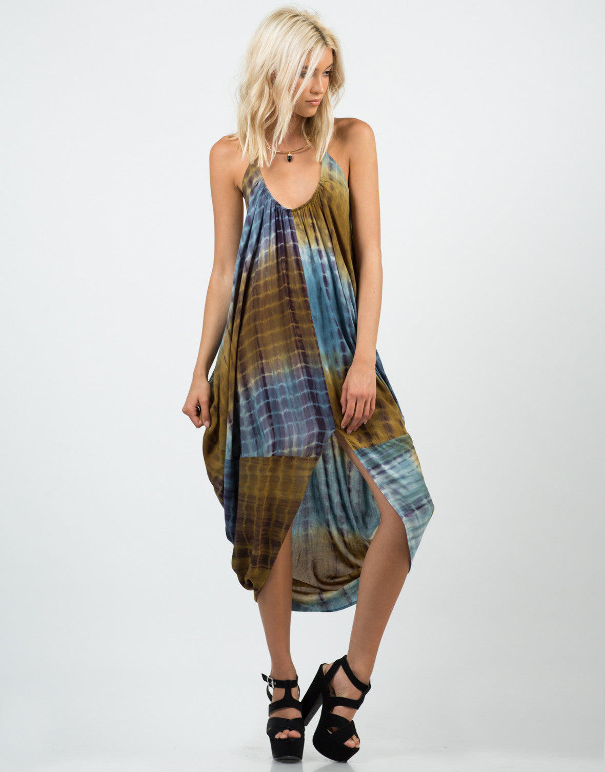 Front View of Tie-Dye Parachute Dress
