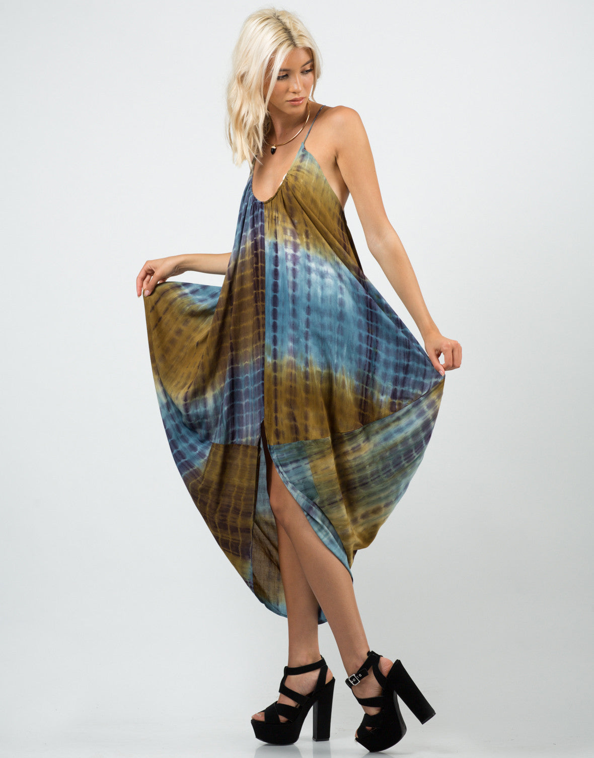 Side View of Tie-Dye Parachute Dress
