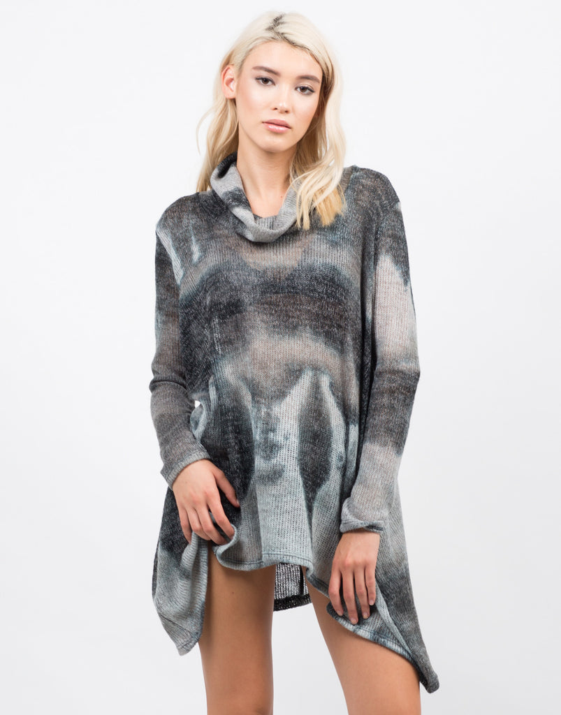 Front View of Tie-Dye Sweater Top