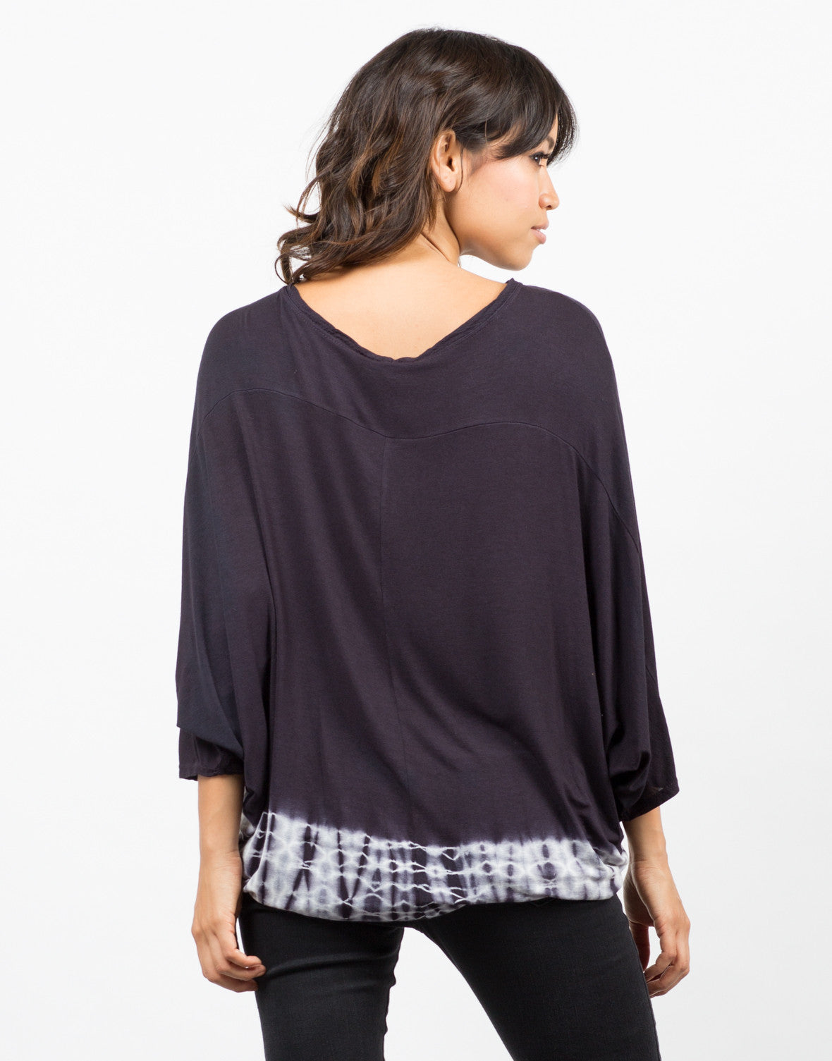 Back View of Tie-Dye Trimmed Dolman Top