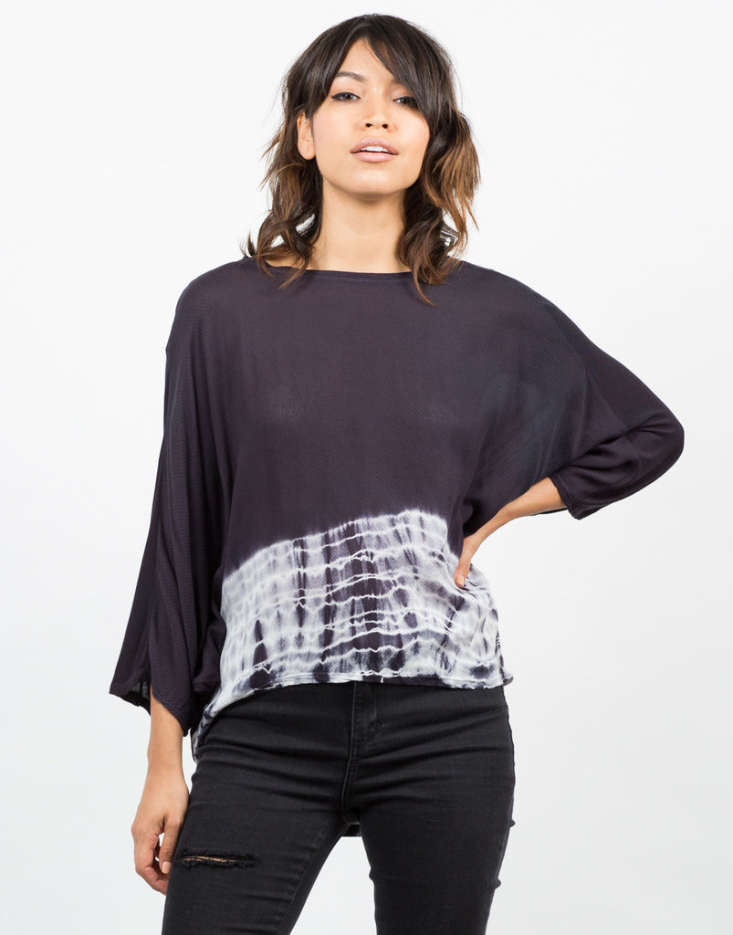 Front View of Tie-Dye Trimmed Dolman Top