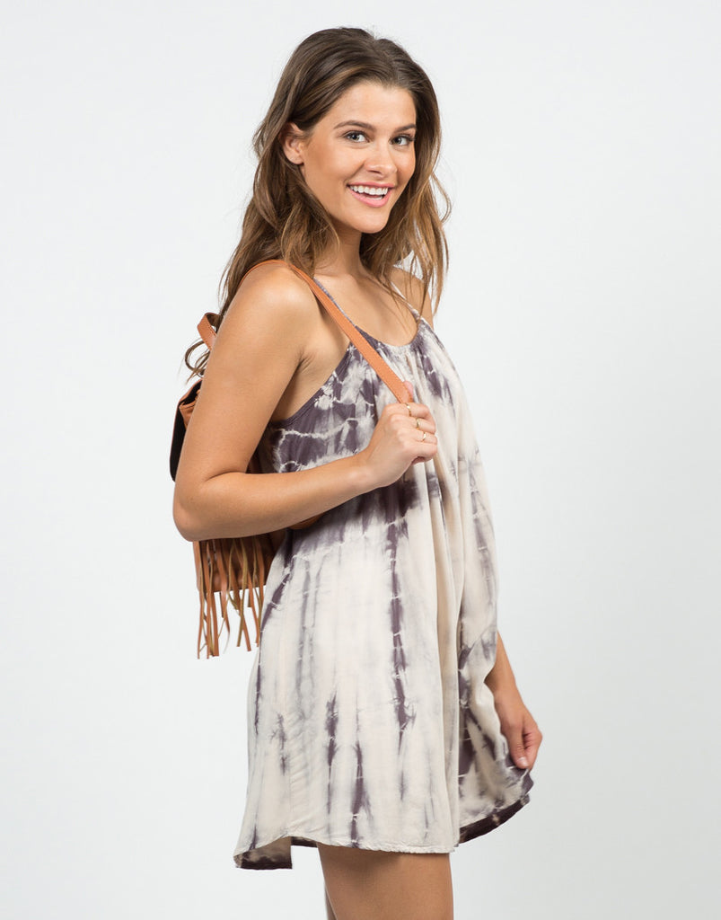 Front View of Tie-Dye Tunic Dress