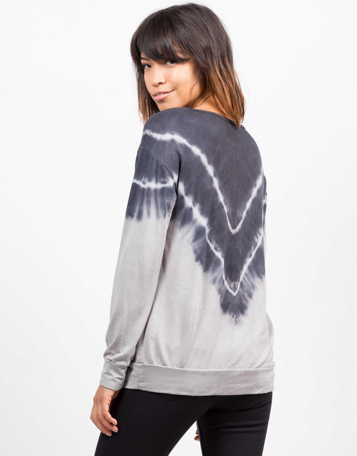 Back View of Tie-Dye V Tunic Sweater