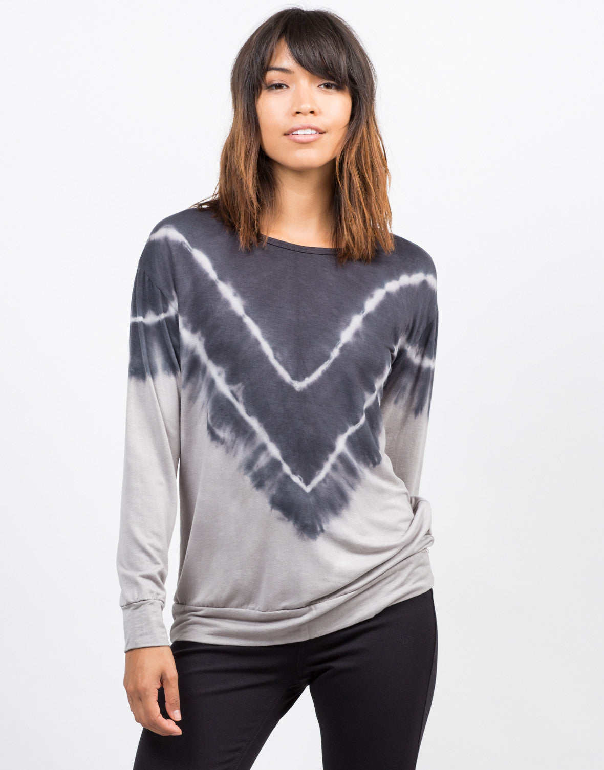 Front View of Tie-Dye V Tunic Sweater