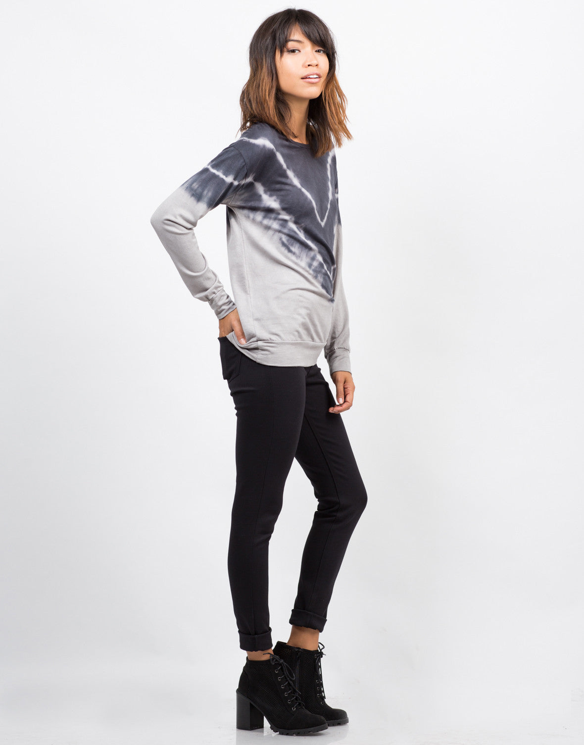 Side View of Tie-Dye V Tunic Sweater