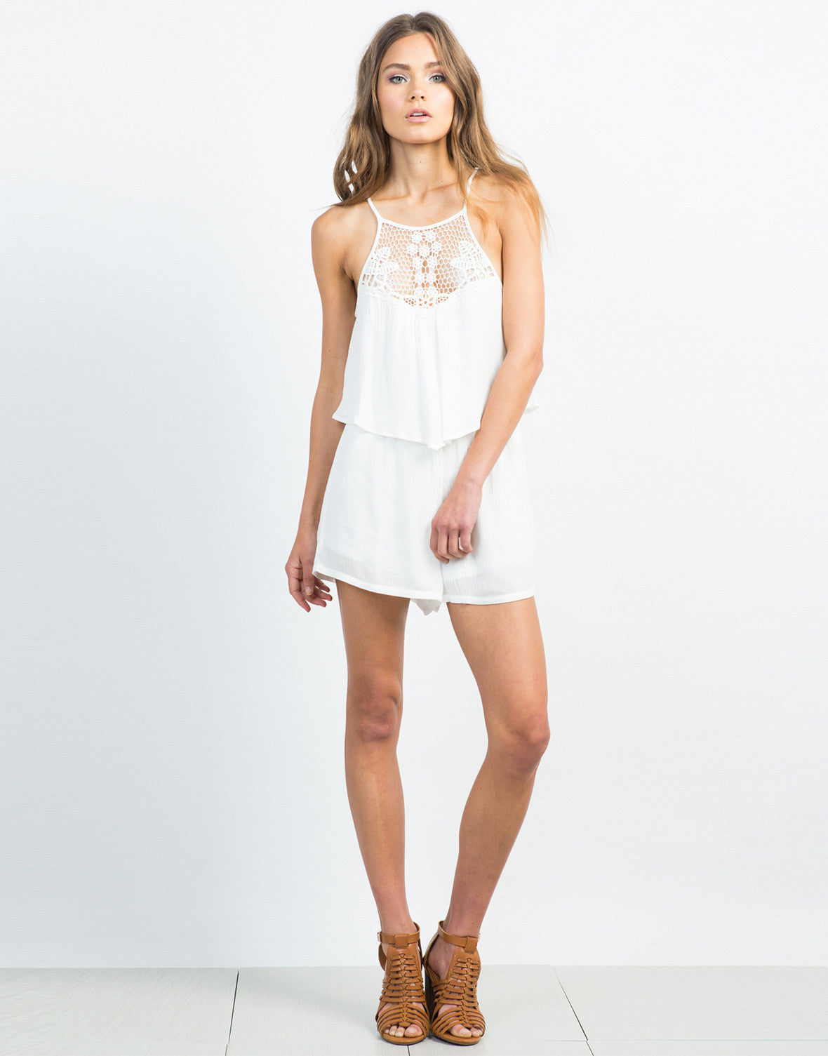 Front View of Tiered Crochet Gauze Romper - Everything White