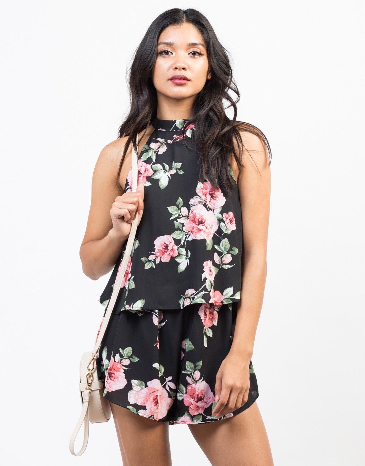 Front View of Tiered Floral Chiffon Romper