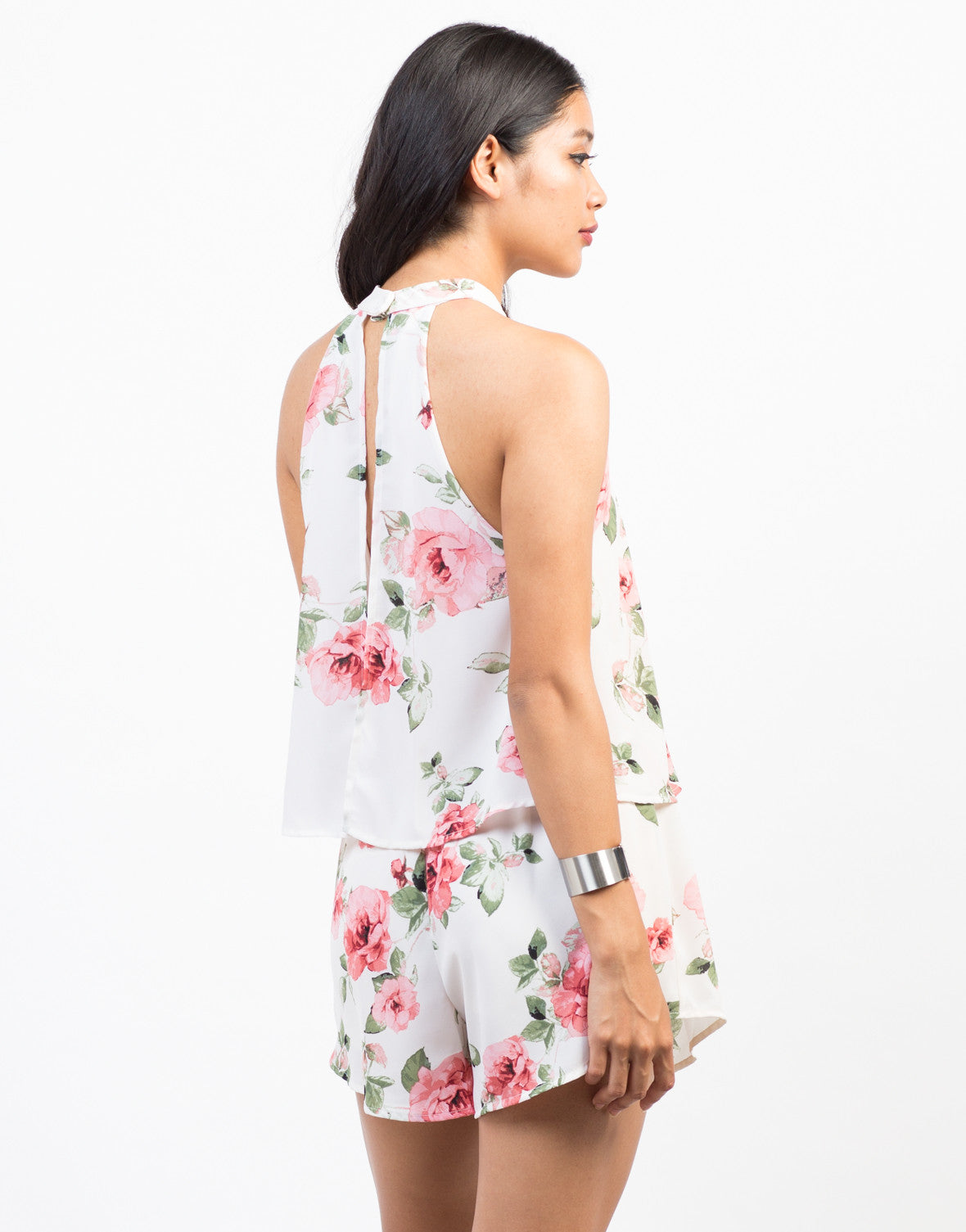 Back View of Tiered Floral Chiffon Romper