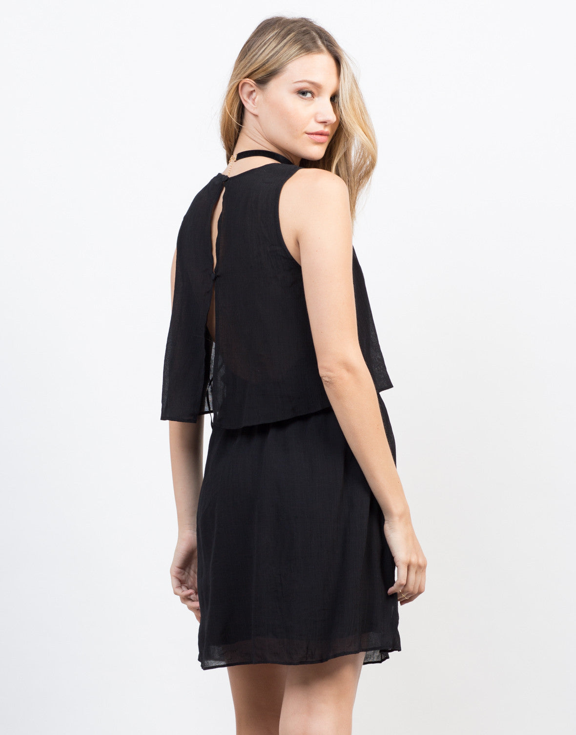 Back View of Tiered Lace-Up Dress