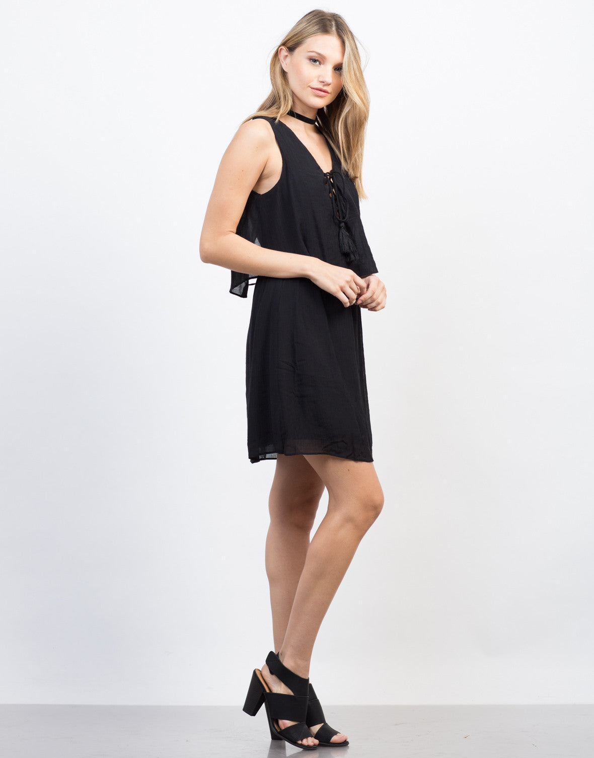 Side View of Tiered Lace-Up Dress