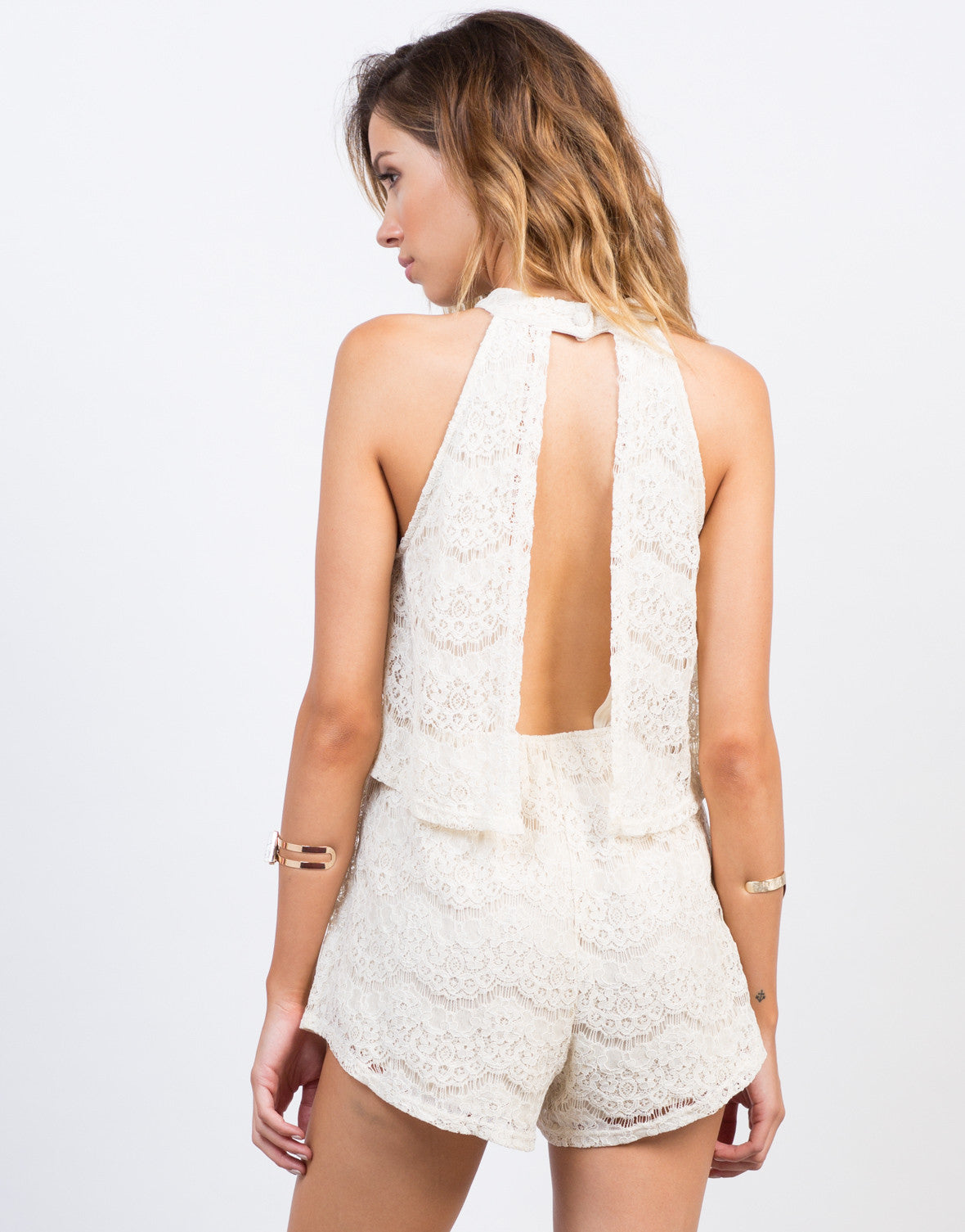 Back View of Tiered Lacey Romper