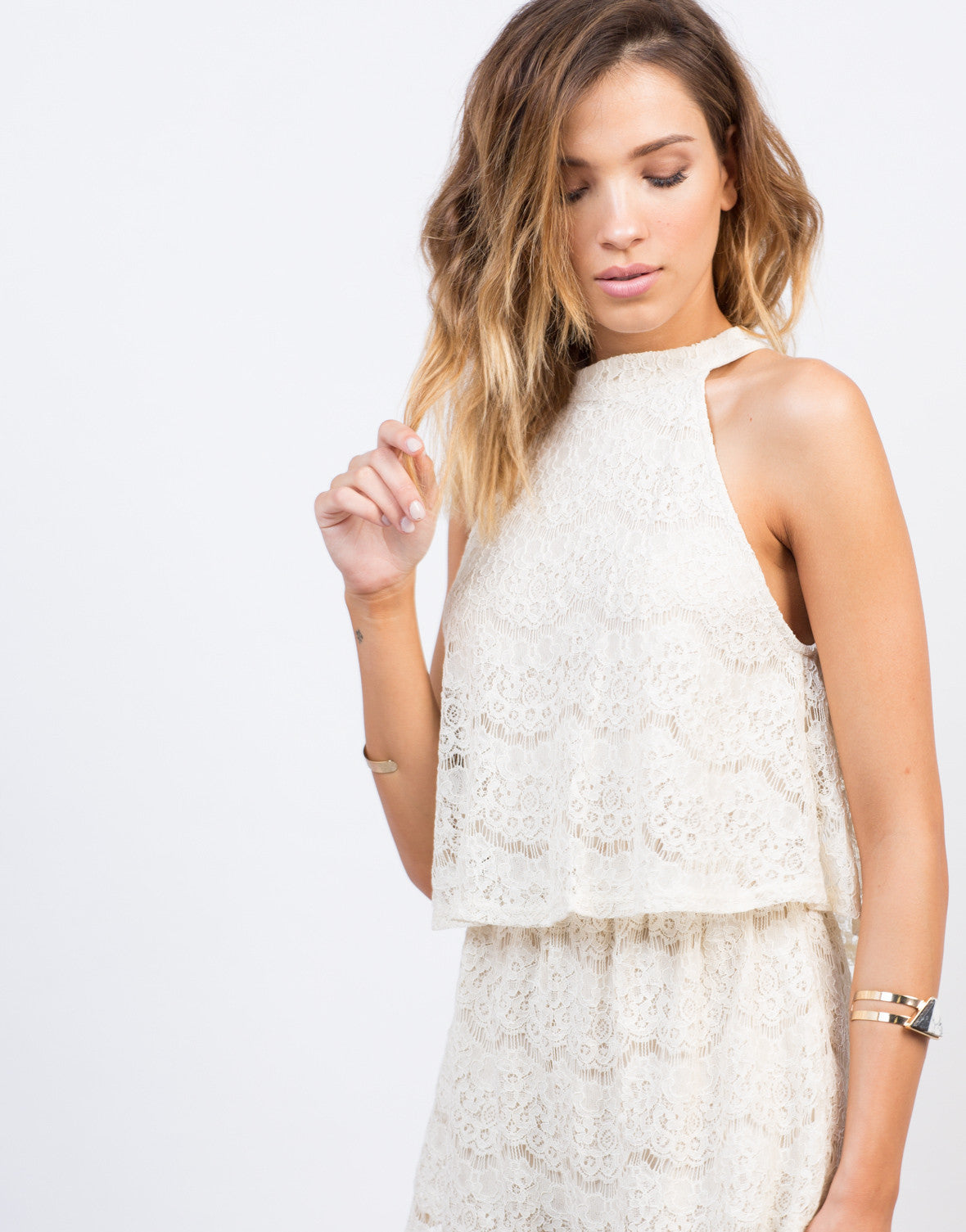 Detail of Tiered Lacey Romper
