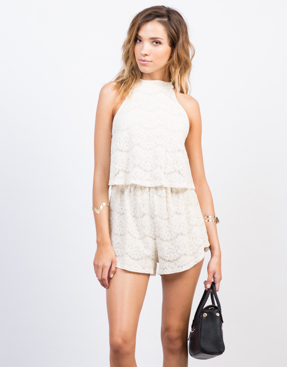 Front View of Tiered Lacey Romper