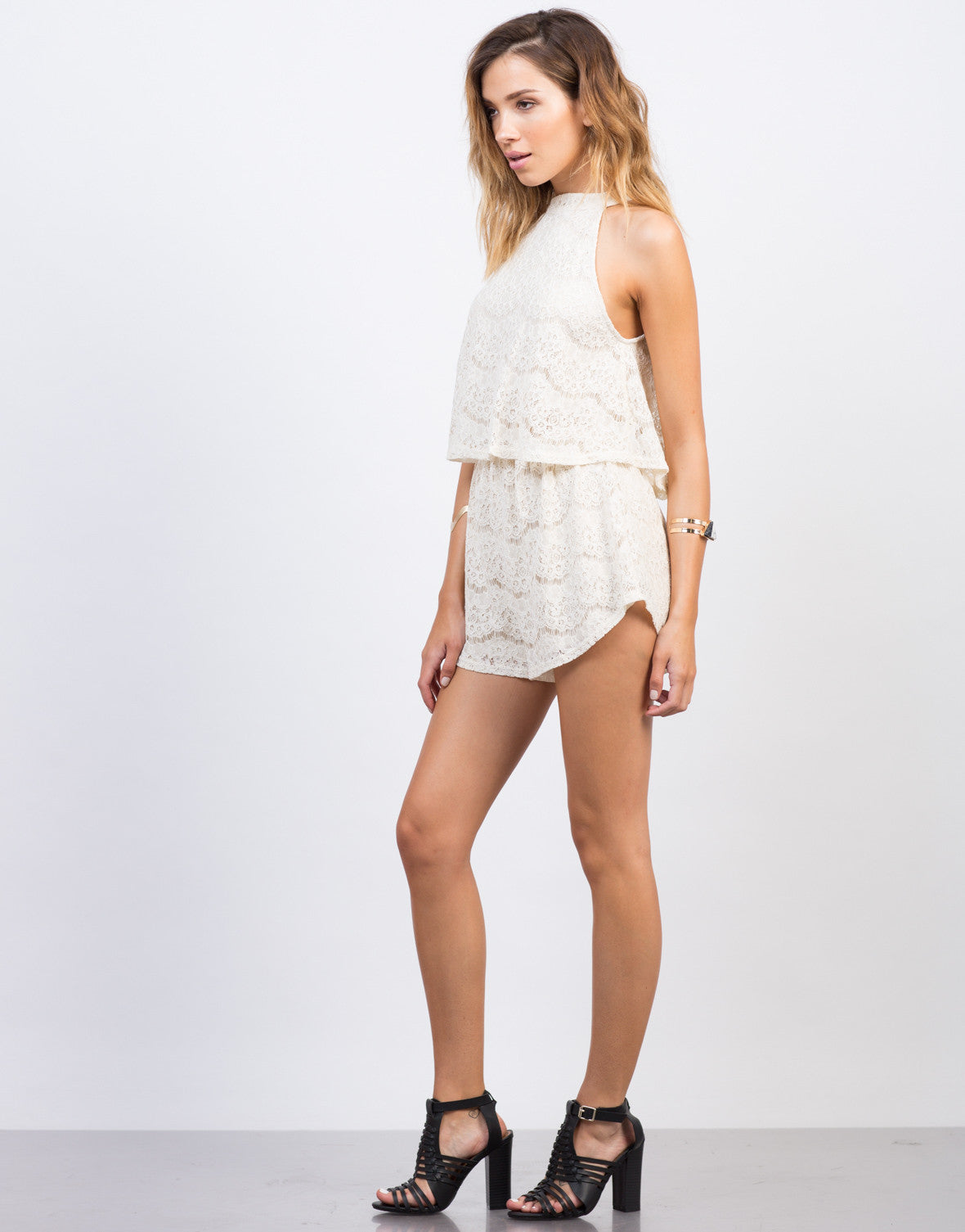 Side View of Tiered Lacey Romper