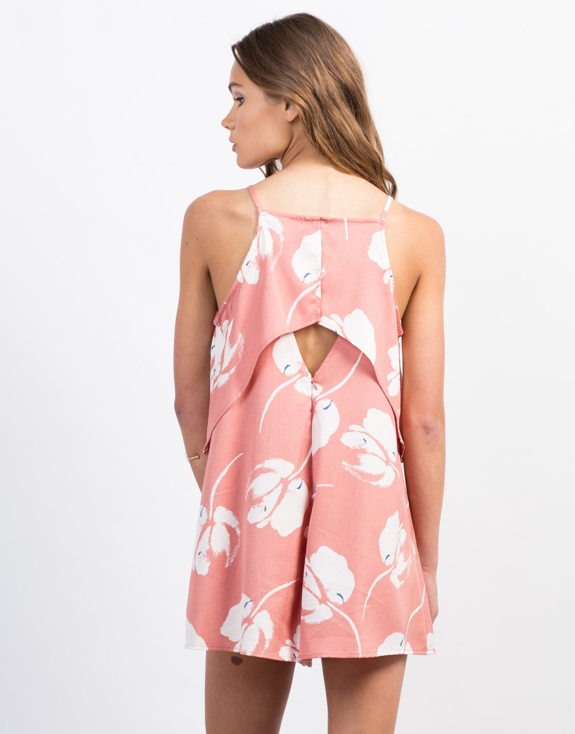 Back View of Tiered Woven Print Romper