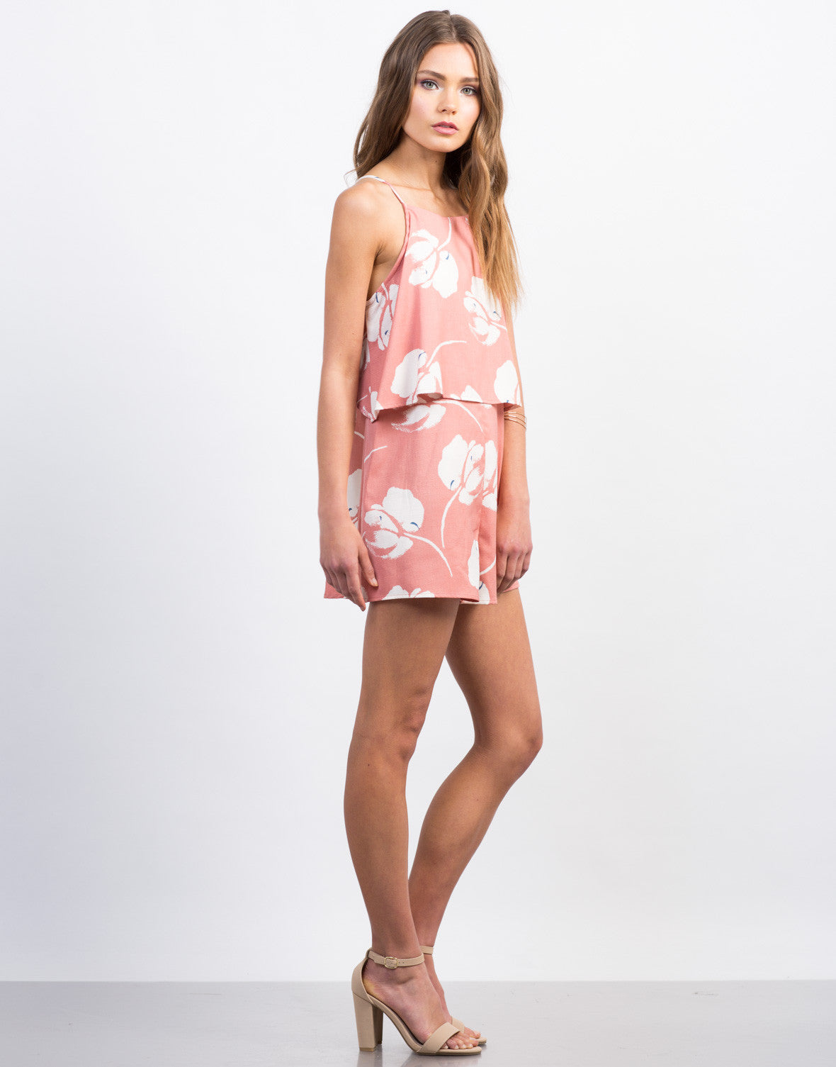 Side View of Tiered Woven Print Romper