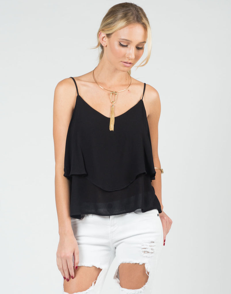 Front View of Tiered Flowy Cami Top