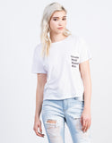 Front View of Top Model Cropped Tee