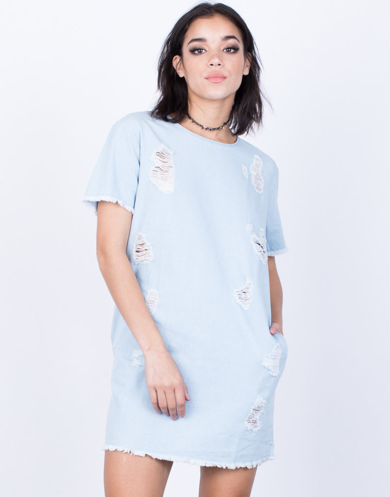Front View of Torn Apart Denim Dress