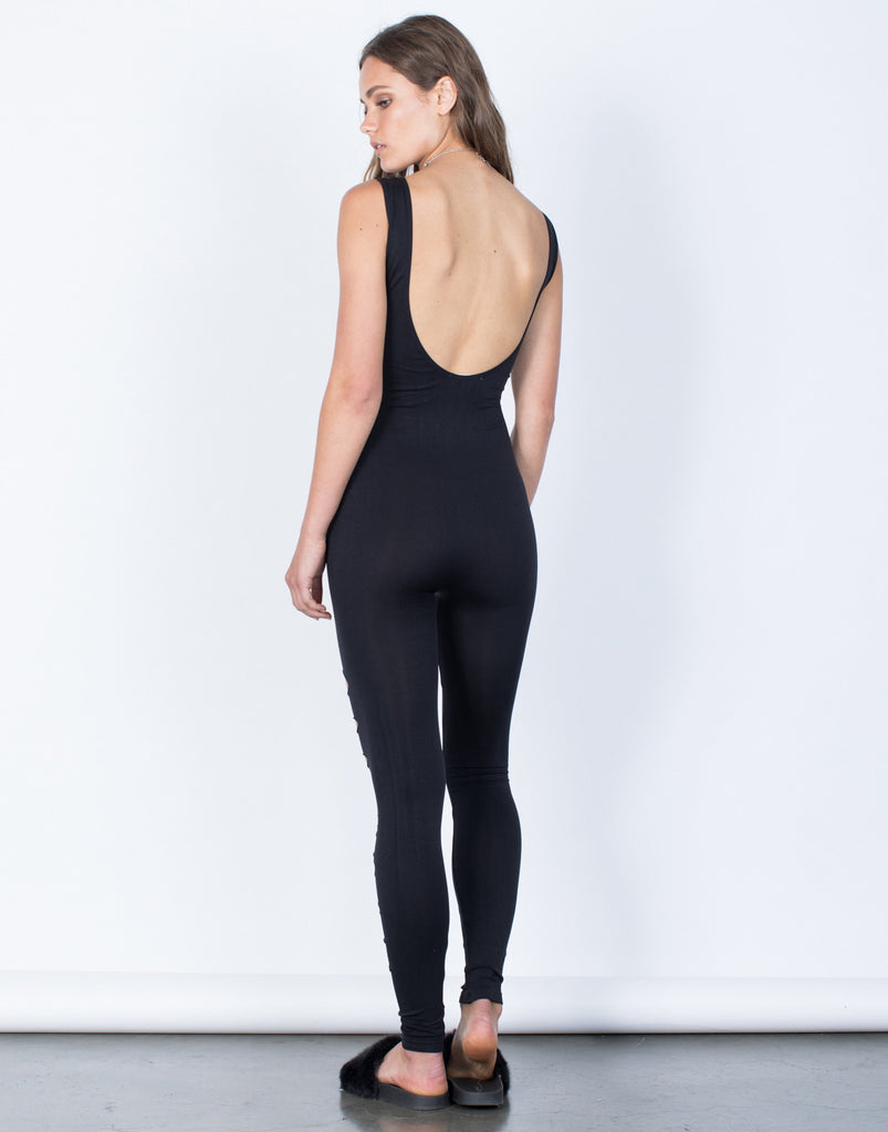 Back View of Torn Apart Jumpsuit
