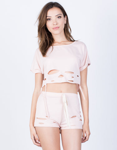 Front View of Torn Through Crop Top