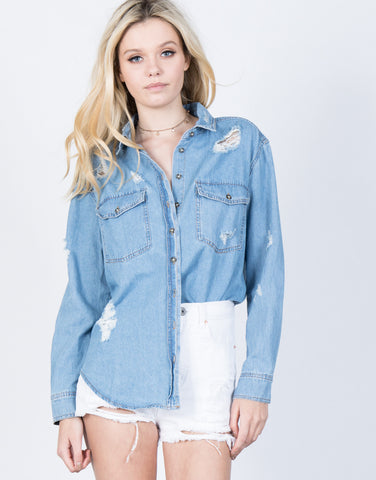 Front View of Torn Up Denim Top