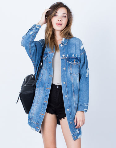 Front View of Torn Up Oversized Denim Jacket