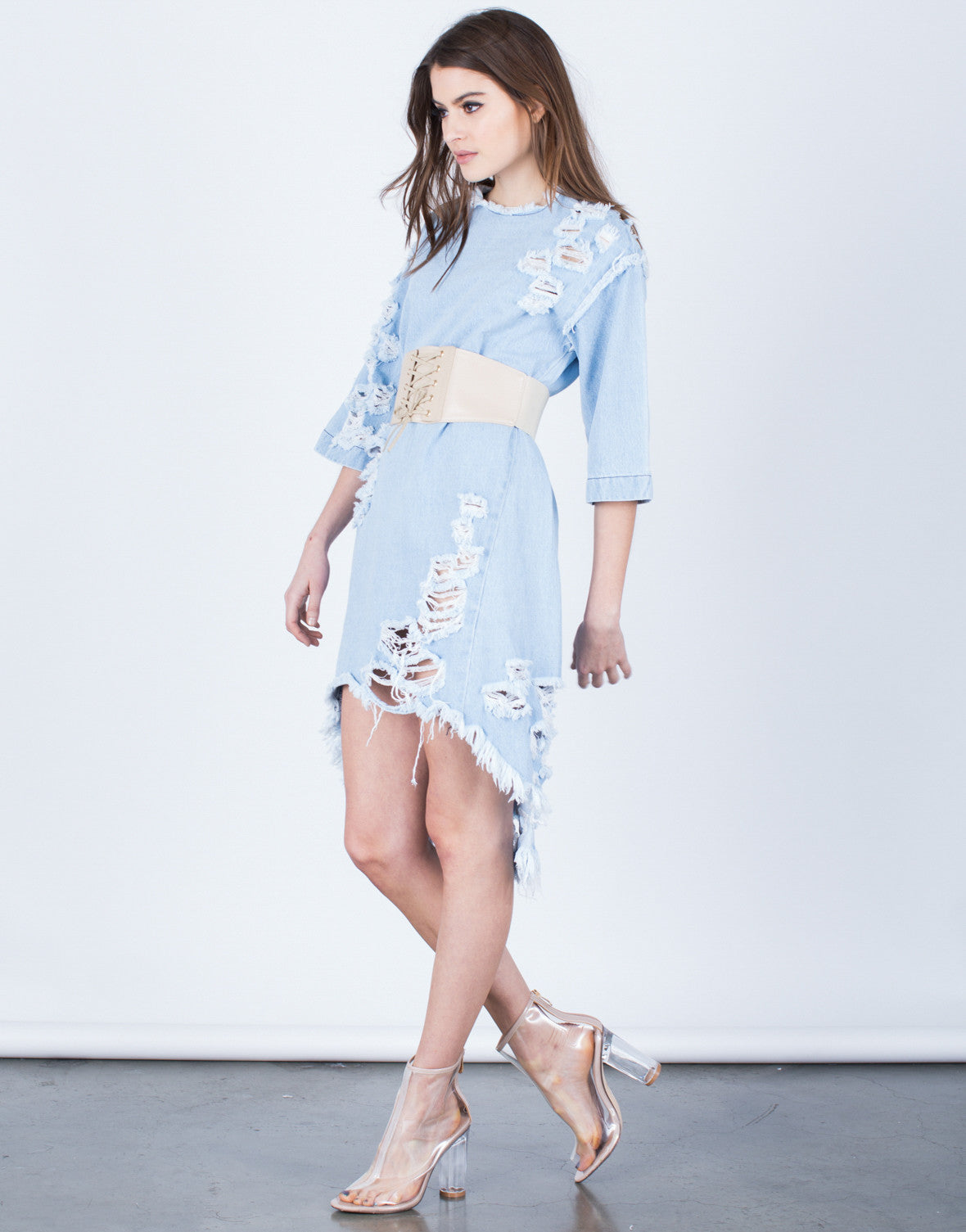 Side View of Totally Shredded Denim Dress