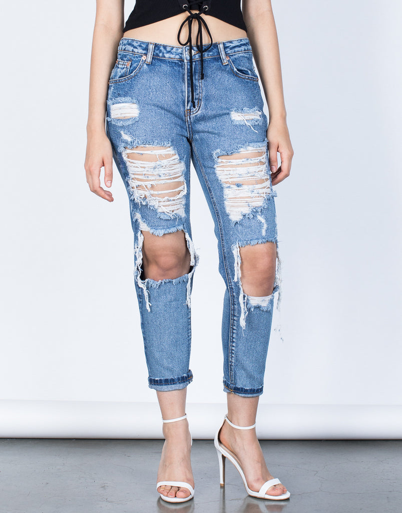 Front View of Totally Shredded Jeans