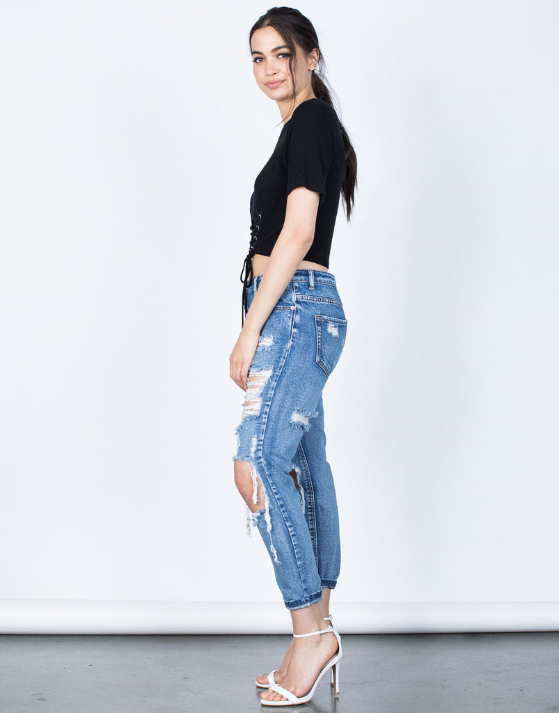 Side View of Totally Shredded Jeans