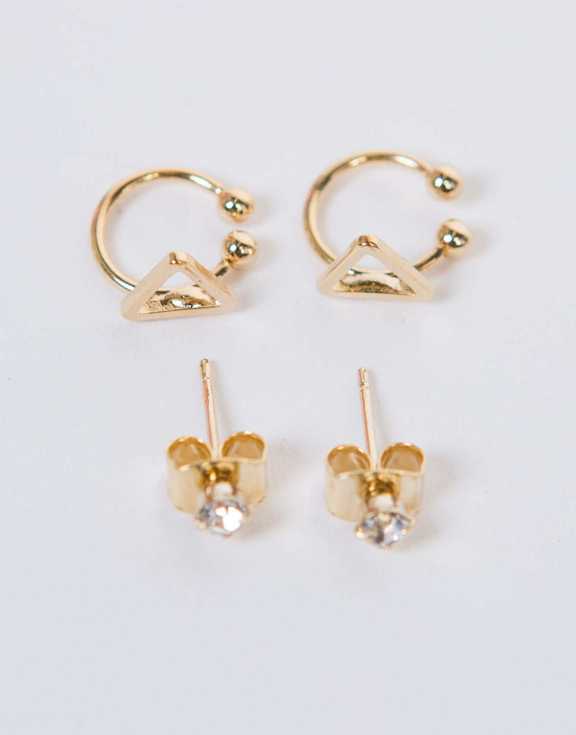 Triangle Earring Cuff Set