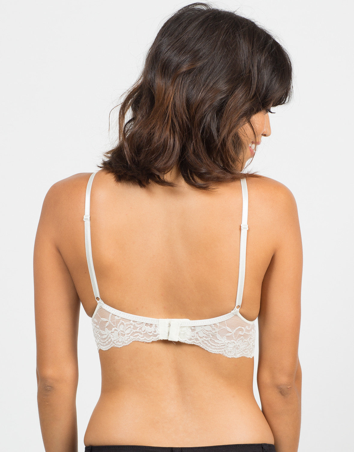 Back View of Triangle Lace Trim Bralette