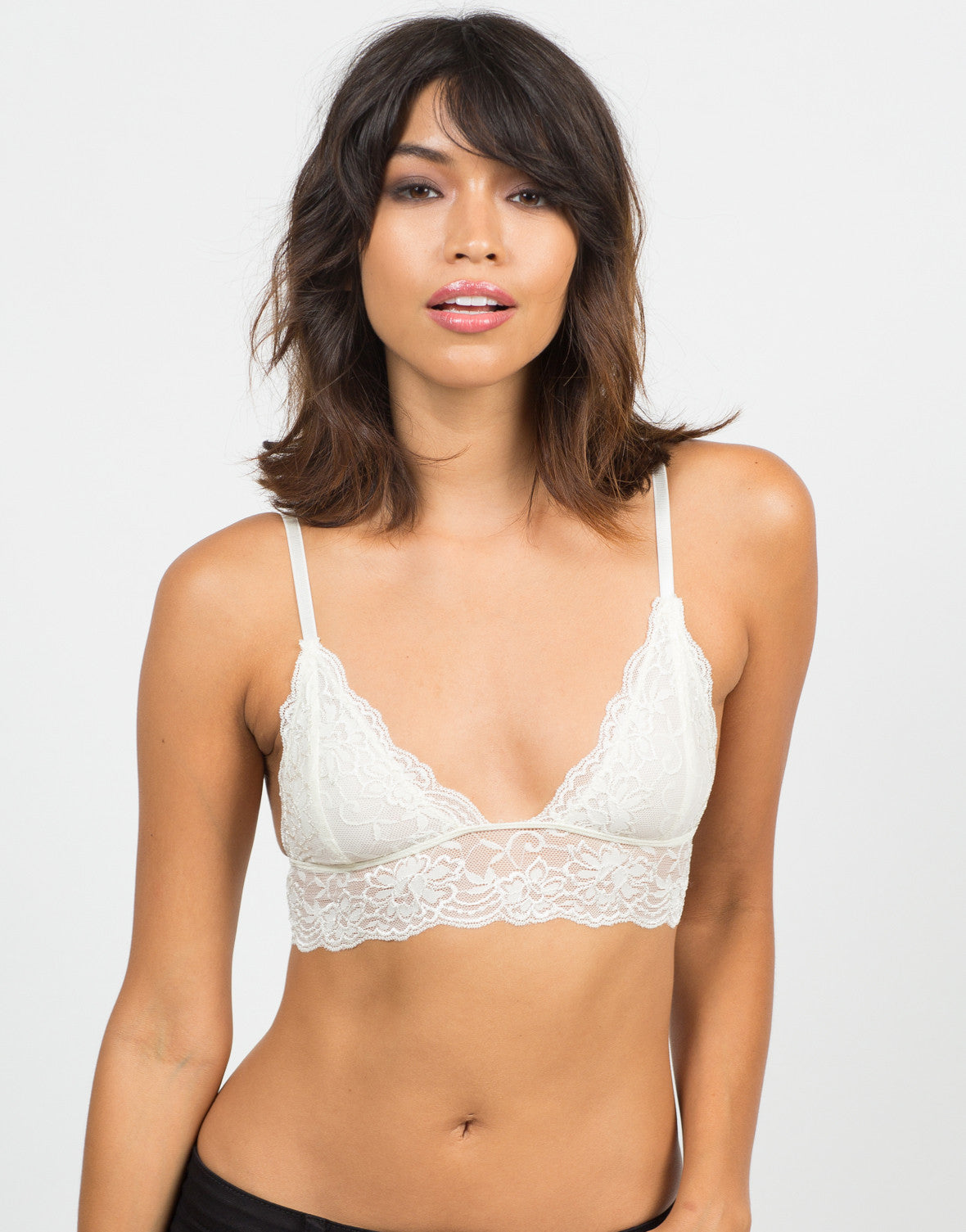 Front View of Triangle Lace Trim Bralette