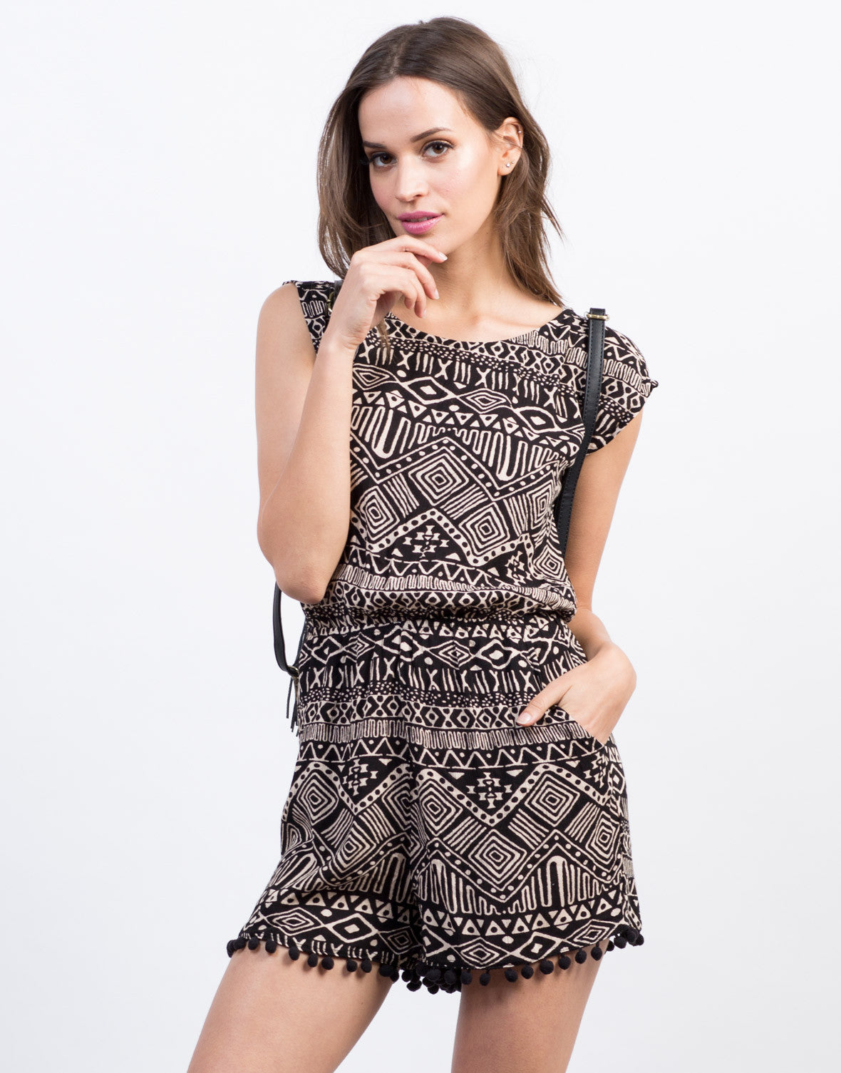 Front View of Tribal Print Pom Romper