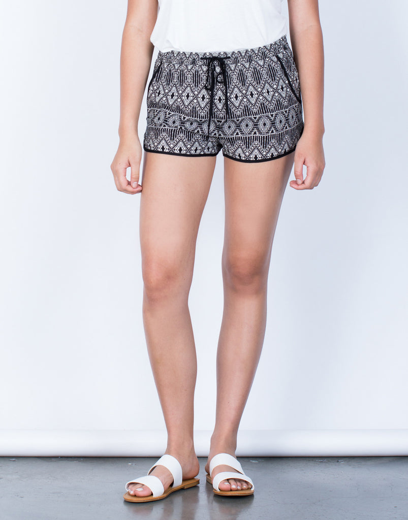 Front View of Tribal Printed Drawstring Shorts