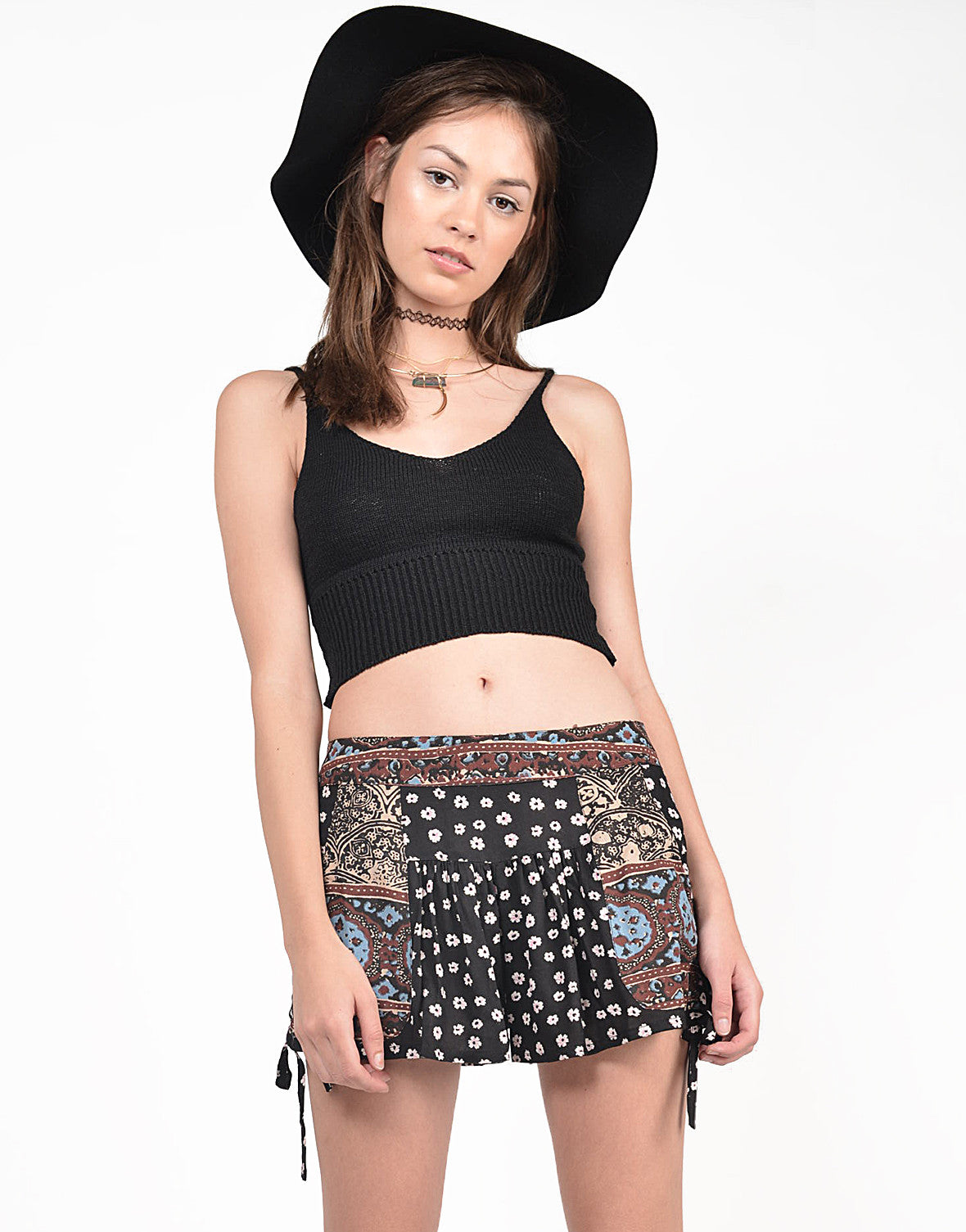 Front View of Tribal Contrast Floral Shorts