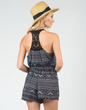 Back View of Tribal Crochet Back Romper