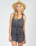 Front View of Tribal Crochet Back Romper