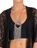 Trifecta Chain Fringe Necklace
