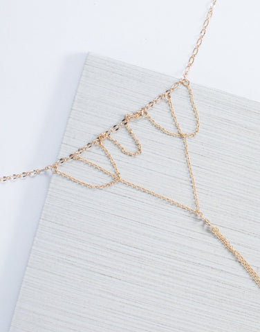 Gold Triple Draped Necklace - Detail