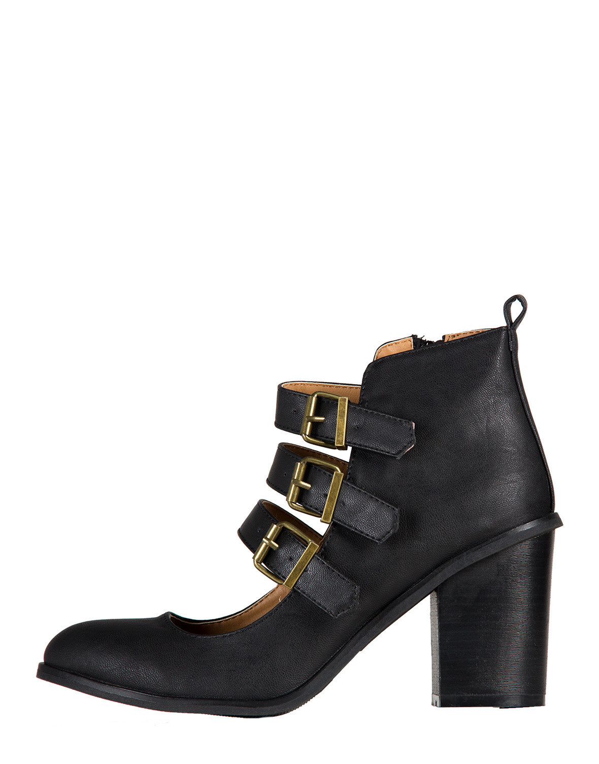 Triple Buckled Mary Jane Booties
