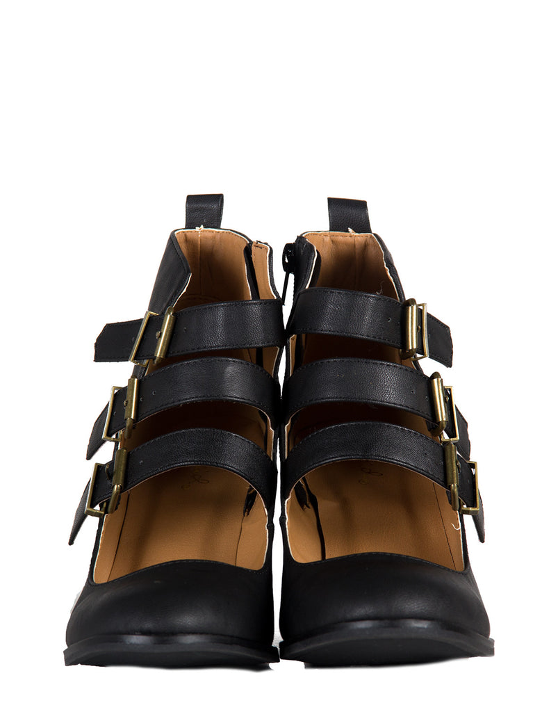 Triple Buckled Mary Jane Booties - 2020AVE