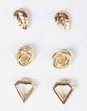 Front View of Triple Gold Stud Earring Set