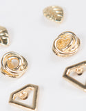 Detail of Triple Gold Stud Earring Set