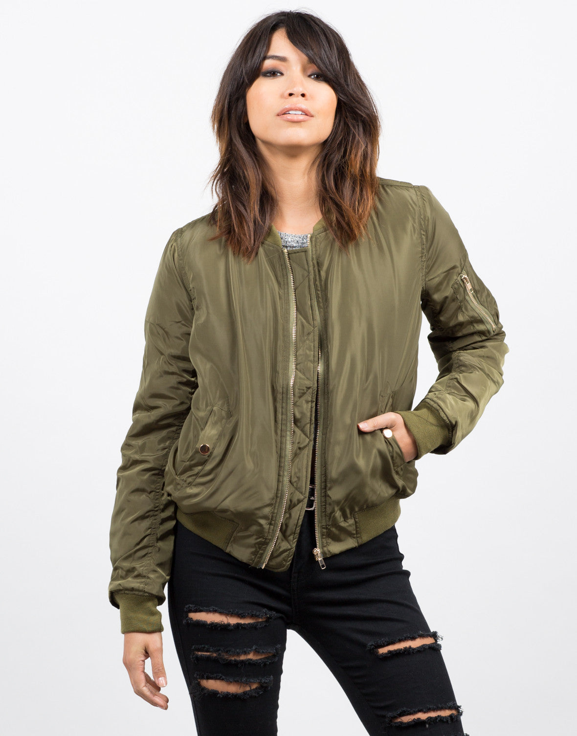 Front View of Triple Pocket Bomber Jacket
