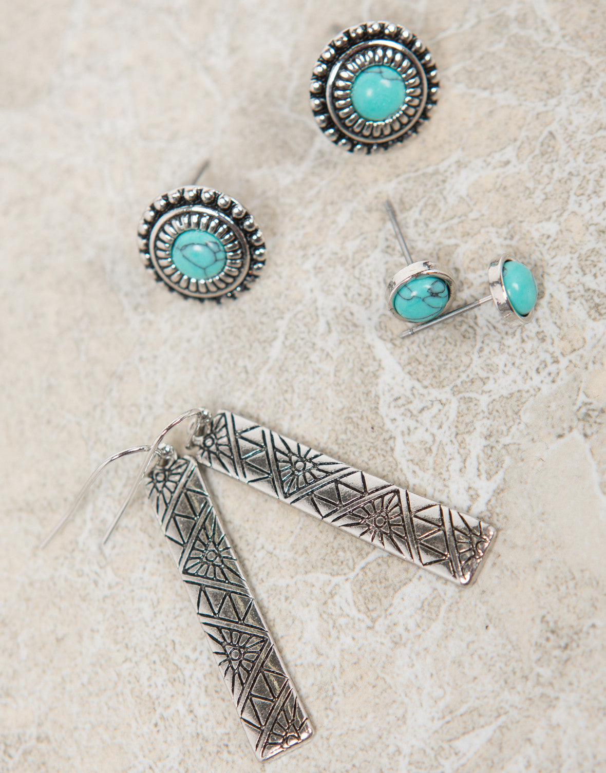 Triple Set Turquoise Antique Earrings