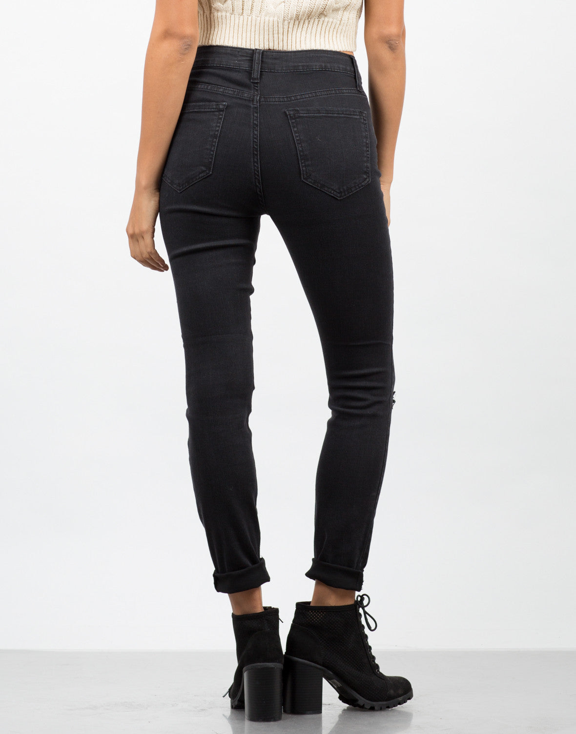 Back View of Triple Slit Skinny Jeans